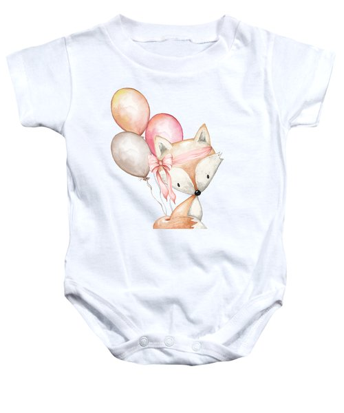 Boho Fox With Balloons Baby Onesie