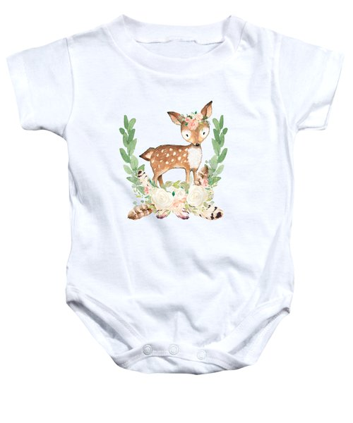 Boho Woodland Blush Dear With Feathers Baby Onesie