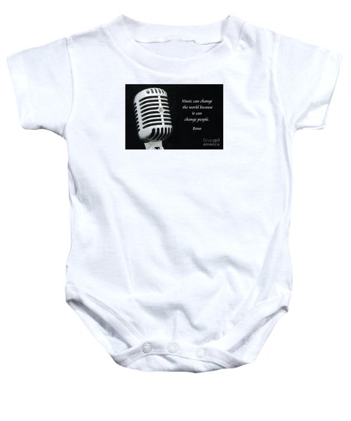 Bono On Music Baby Onesie by Paul Ward