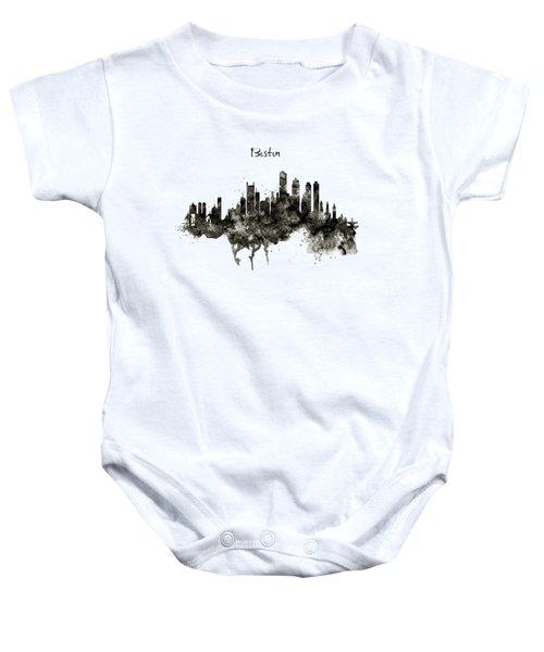 Boston Skyline Black And White Baby Onesie by Marian Voicu