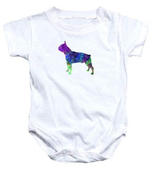 Boston Terrier 02 In Watercolor Baby Onesie by Pablo Romero