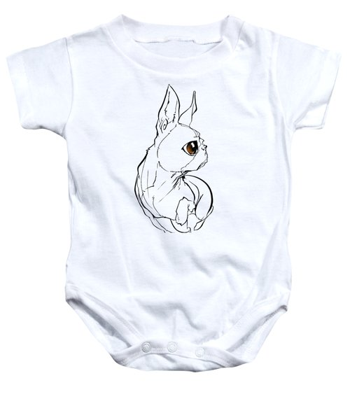 Boston Terrier Gesture Sketch Baby Onesie