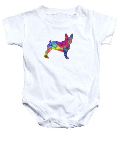 Boston Terrier 01 In Watercolor Baby Onesie by Pablo Romero