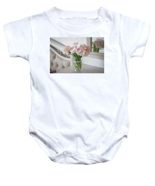 Bouquet Of Delicate Ranunculus And Tulips In Interior Baby Onesie