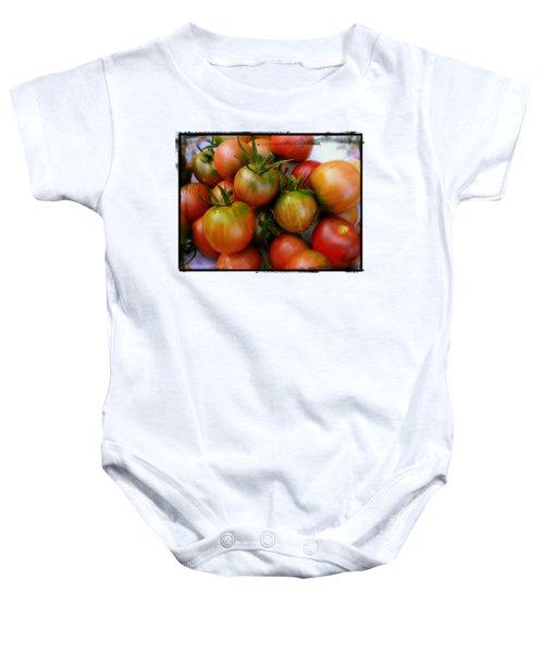 Bowl Of Heirloom Tomatoes Baby Onesie by Kathy Barney