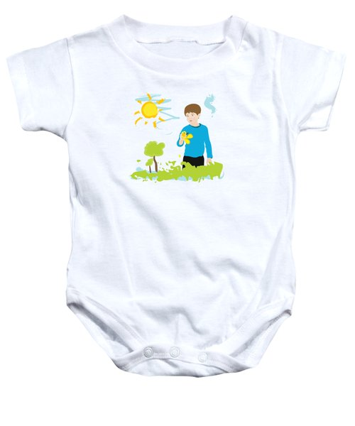 Boy Painting Summer Scene Baby Onesie