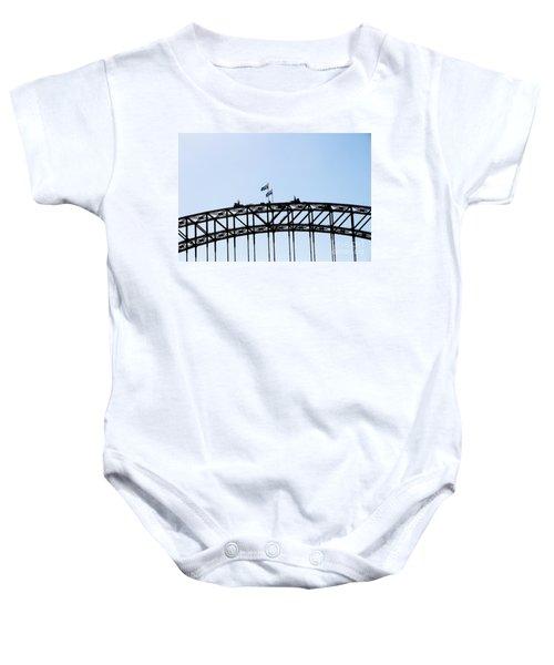 Baby Onesie featuring the photograph Bridge Walk by Stephen Mitchell