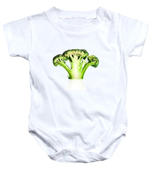 Broccoli Cutaway On White Baby Onesie by Johan Swanepoel