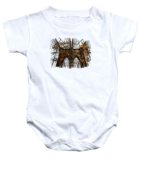 Brooklyn Bridge Earthy 3 Dimensional Baby Onesie by Di Designs