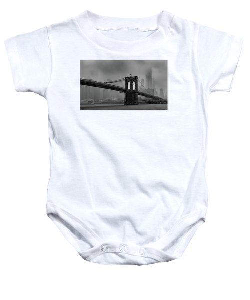 Brooklyn Bridge In A Storm 2 Baby Onesie
