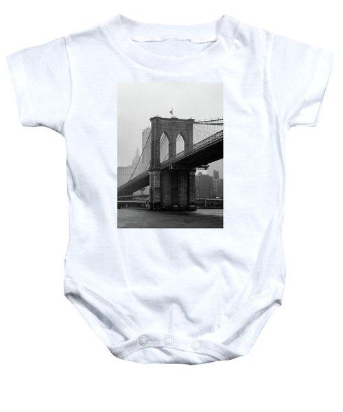 Brooklyn Bridge In A Storm Baby Onesie