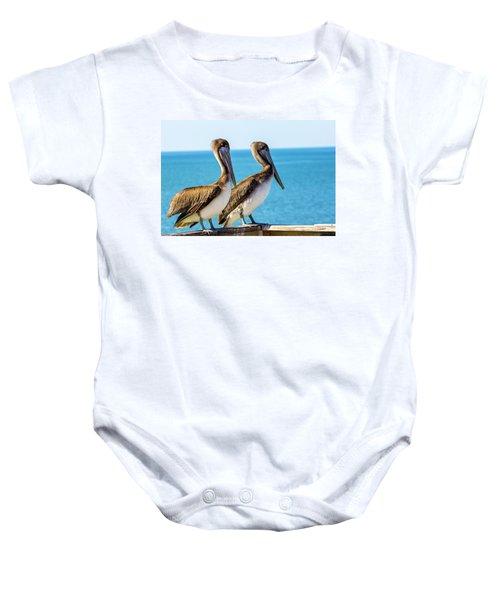 Brown Pelican Pair Baby Onesie