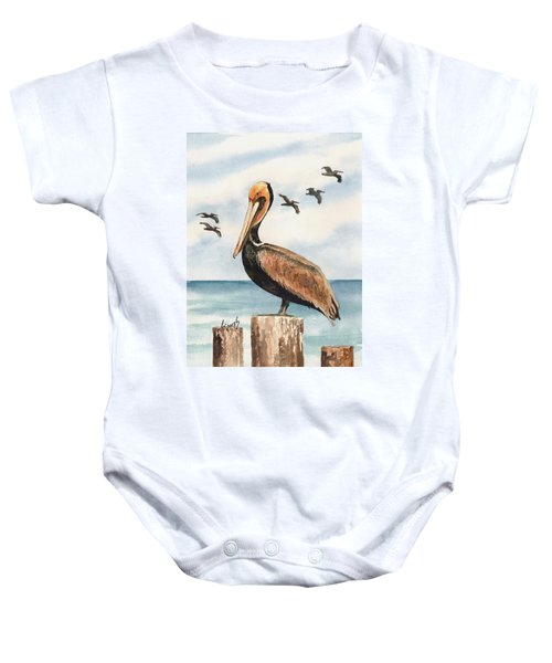 Brown Pelicans Baby Onesie