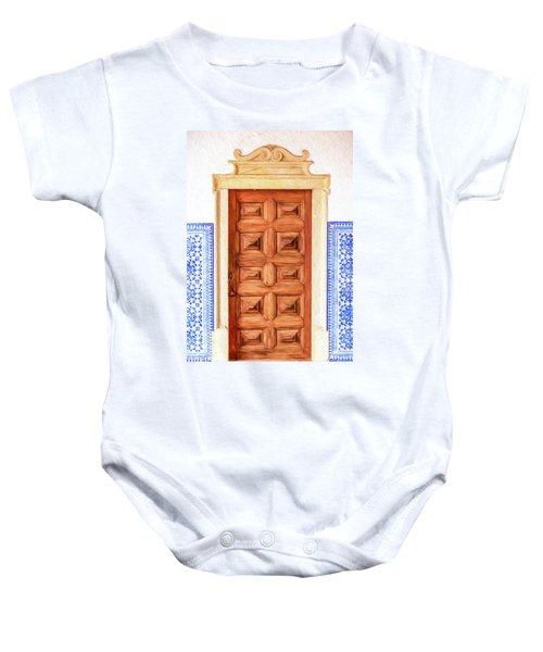 Brown Wood Door Of Old World Europe Baby Onesie
