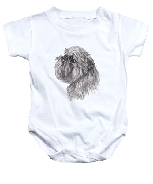 Brussels Griffon Dog Portrait  Drawing Baby Onesie by I Am Lalanny