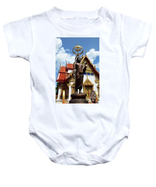 Buddha Statue With Sunshade Outside Temple Hat Yai Thailand Baby Onesie