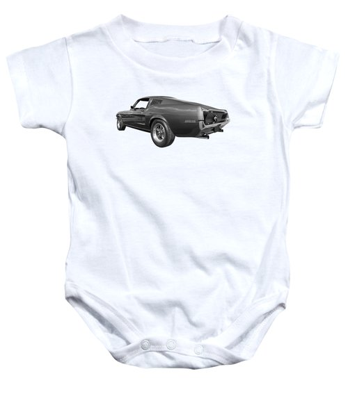 Bullitt Mustang 1968 In Black And White Baby Onesie