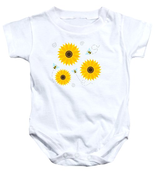 Busy Bees And Sunflowers - Large Baby Onesie by SharaLee Art
