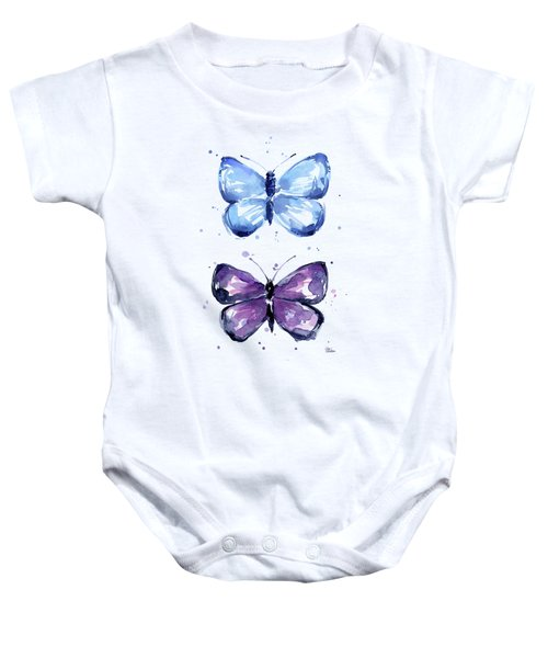 Butterflies Blue And Purple  Baby Onesie