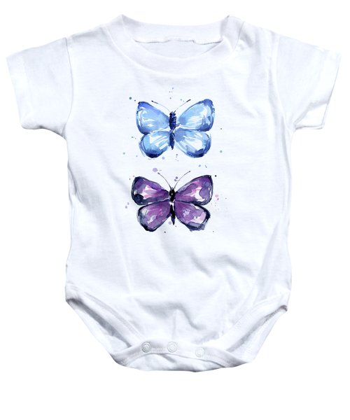 Butterflies Blue And Purple  Baby Onesie