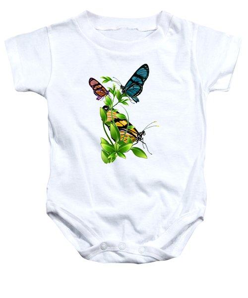 Butterflies On Leaves Baby Onesie