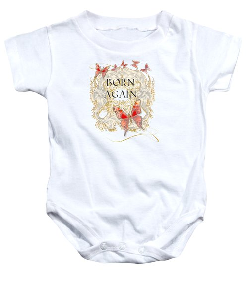 Butterfly Butterflies Swirling Born Again Christian Symbol Baby Onesie