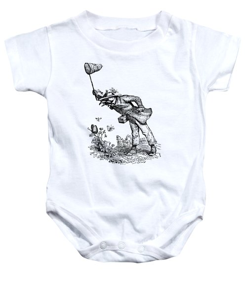 Butterfly Hunting Grandville Transparent Background Baby Onesie