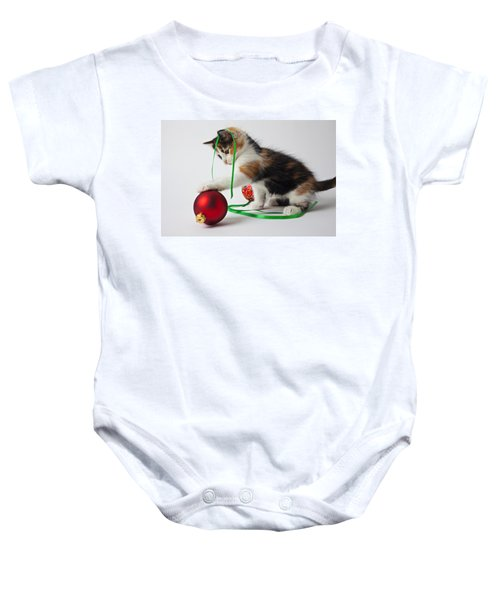 Calico Kitten And Christmas Ornaments Baby Onesie