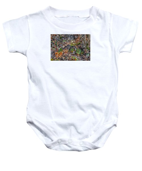 Camouflaged Plumage With Fallen Leaves Baby Onesie by Asbed Iskedjian