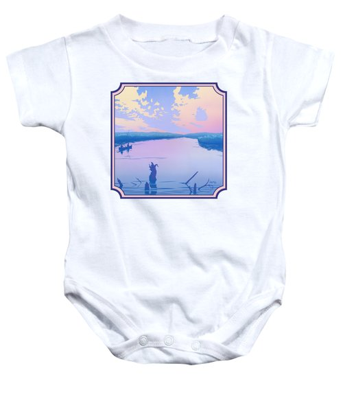 Canoeing The River Back To Camp At Sunset Landscape Abstract - Square Format Baby Onesie