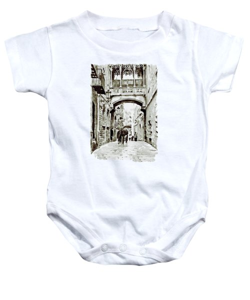 Carrer Del Bisbe - Barcelona Black And White Baby Onesie by Marian Voicu