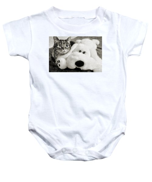 Cat And Dog In B W Baby Onesie