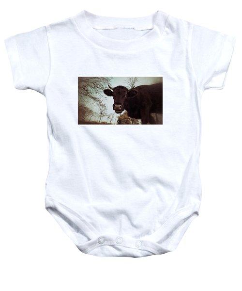 #cattle #kuh #rind #weide #herbst Baby Onesie