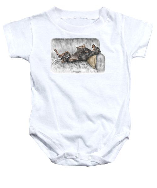 Caution Guard Dog - Doberman Pinscher Print Color Tinted Baby Onesie