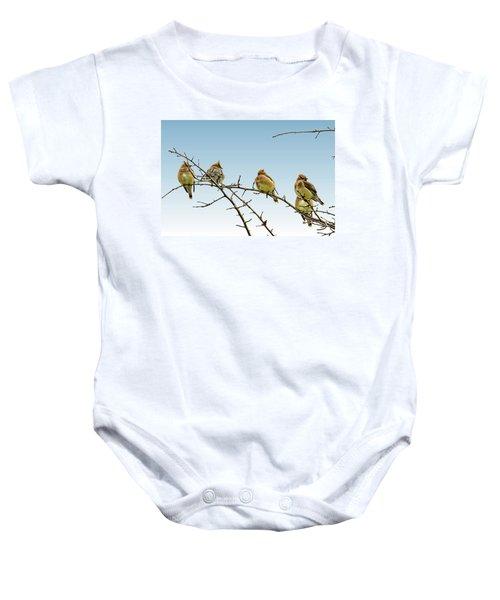 Cedar Waxwings Baby Onesie by Geraldine Scull