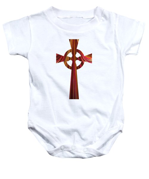 Celtic Cross With Fractal Abstract Fill Baby Onesie