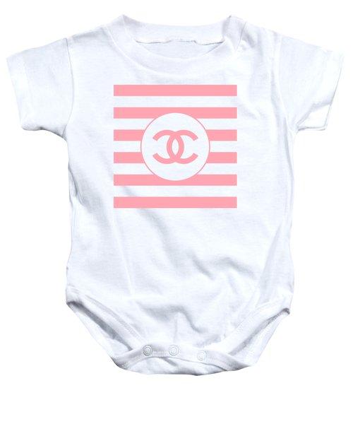 Chanel - Stripe Pattern - Pink - Fashion And Lifestyle Baby Onesie