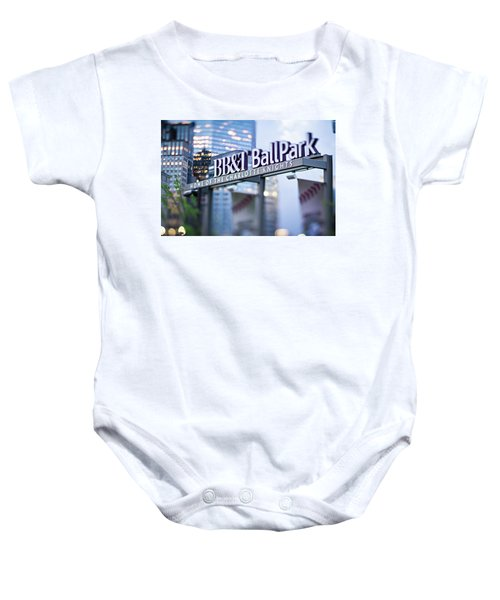 Charlotte Nc Usa  Bbt Baseball Park Sign  Baby Onesie