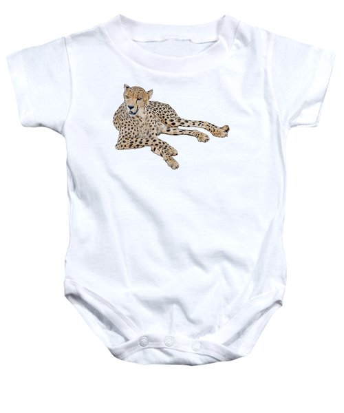 Cheetah Resting, Isolated On White Background, Cartoon Style #1 Baby Onesie
