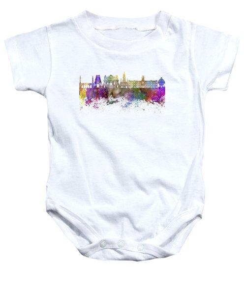 Chennai Skyline In Watercolor Background Baby Onesie