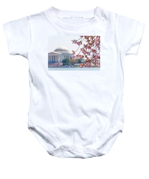 Cherry Blossoms And Jefferson Memorial Baby Onesie