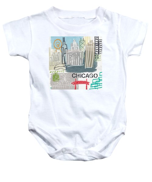 Chicago Cityscape- Art By Linda Woods Baby Onesie