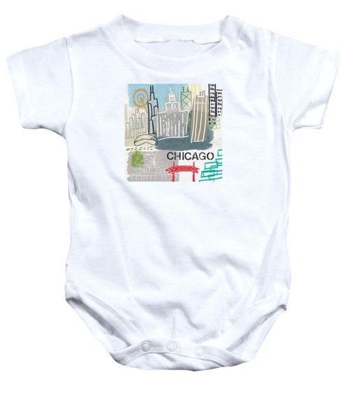 Chicago Cityscape- Art By Linda Woods Baby Onesie