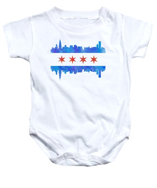 Chicago Flag Watercolor Baby Onesie by Mike Maher