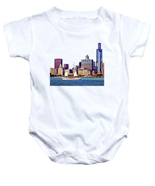 Chicago Il - Schooner Against Chicago Skyline Baby Onesie by Susan Savad