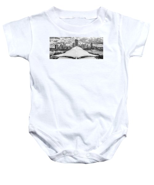 Baby Onesie featuring the photograph Chicago Skyline From Navy Pier Black And White by Adam Romanowicz