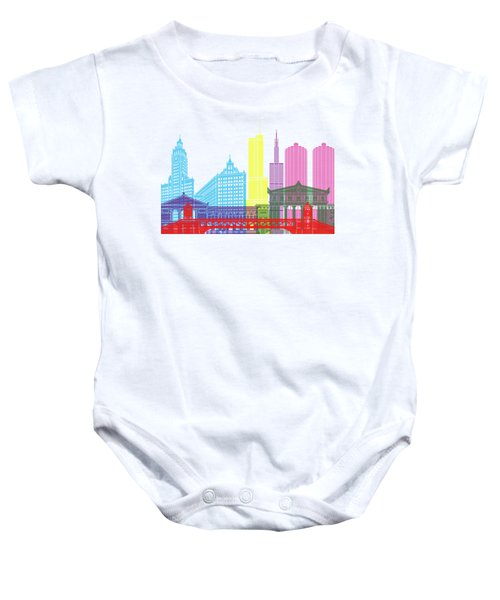 Chicago Skyline Pop Baby Onesie by Pablo Romero