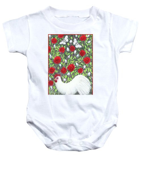 Chicken And Butterflies In The Flowers Baby Onesie