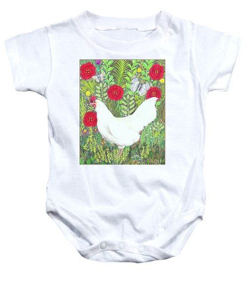 Chicken With Millefleurs And Butterflies  Baby Onesie