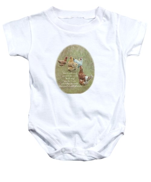 Chickens With Attitude On A Transparent Background Baby Onesie by Terri Waters